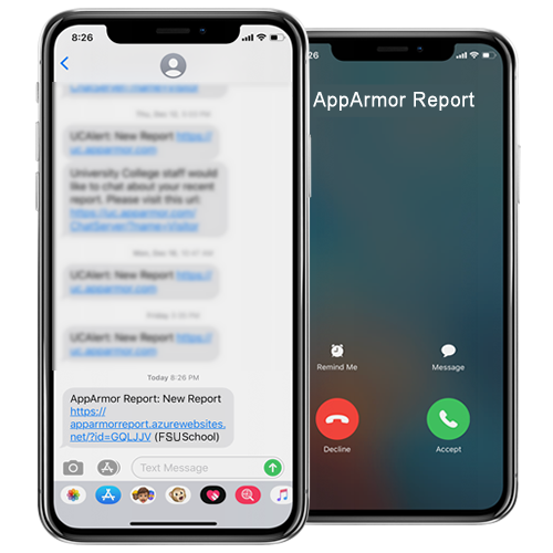 Screenshot of incoming SMS and Voice Call